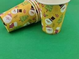 """Стакан для напитков 175мл """"Снеговик на желтом"""" Маэстро (50 шт)"""