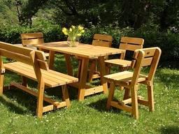 Стандартный набор садовой мебели (Стол, скамья, 4 стула)