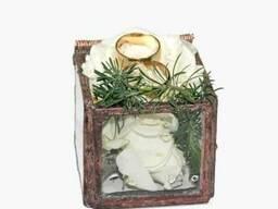 Стеклянная коробочка для обручальных колец на свадьбу