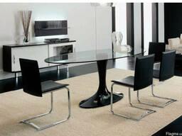 Стеклянный овальный черный, белый (и . т. д. ) стол для кухни