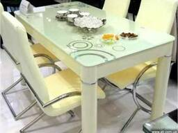 Стеклянный стол B815 крем Киеве, обеденный стол B815 кухни