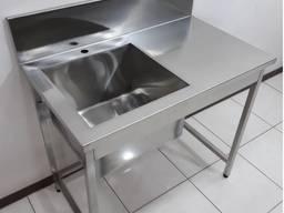 Стіл виробничий з ванною мийної зварної з полицею пристінний