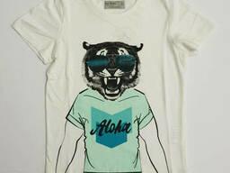 Стильная белая футболка для мальчика с тигром