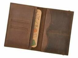 Стильная обложка с кожи для паспорта коричневая 2. 0. ..