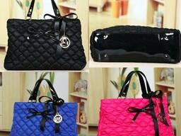 Стильная женская черная, синяя, розовая сумка из текстиля