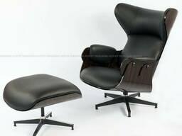 Крісло дизайнерське з оттоманом, матеріал шкіра натуральна ш