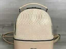 Стильный молодежный рюкзак Welassie Рина бежевая рептилия