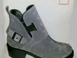 Стильные ботинки, натуральная серая замша