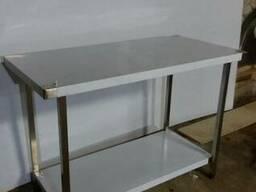 Стол 1200х600х850 кухонный из нержавейки с полкой