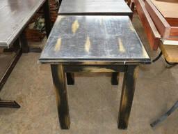 Стол деревянный б/у патина, черный с позолотой