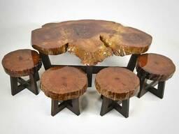 Стол деревянный резной с табуретками Код: СД-17 В наличии
