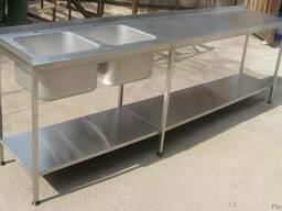 Стол-мойка с штампованными чашами из нержавейки