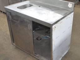 Стол тумба б/у под кофе машину из нержавеющей стали.