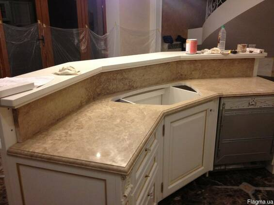 Столешницы из мрамора для кухни и ванной комнаты