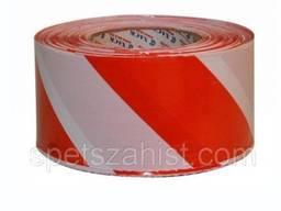Стрічка огороджувальна сигнальна червоно-біла 500м 70мм