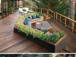 Строительство деревянной террасы с лавками ( скамейками)