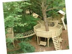 Строительство детских игровых городков, площадок из дерева.