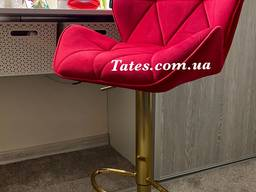 Стул барный HR111 красный велюр основа золото