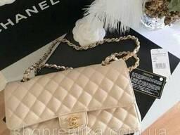 Сумка реплика Шанель Chanel класика Беж Люкс копия с лого