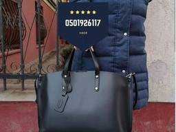 Сумка шкіряна чорна формат А4 Италия Велика повсякденна шкіряна сумка