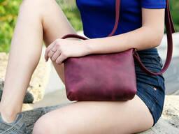 Сумка женская. Кожаная сумочка Лето Кожа Итальянский краст цвет Серо-голубой