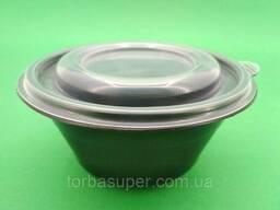 Одноразовый контейнер для супа, сметаны, салатов 500 мл, черный с крышкой, ПП-117-350. ..