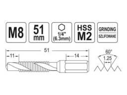 """Свердло-мітчик YATO М8 х 1. 25 x 51/11 мм HSS М2 HEX-1/4"""""""