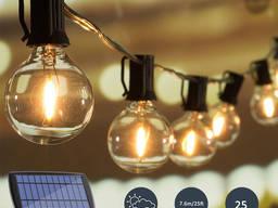Светильник ретро лампа Эдиссона гирлянда на 25 ламп на солнечной батарее фонарь