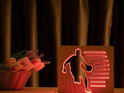 """Светильник ночник ArtEco Light из дерева LED """"Баскетболист с мячем"""" с пультом и. .."""
