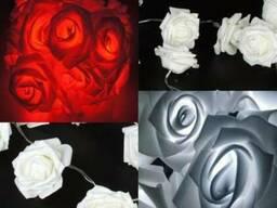 Светодиодная гирлянда Красные Розы 2м 20LED на батарейкахАА