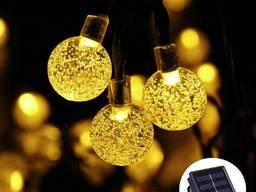 Светодиодная гирлянда на солнечной батарее Хрустальные шарик