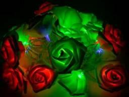 Светодиодная гирлянда Разноцветные Розы RGB 2м 20LED 220В