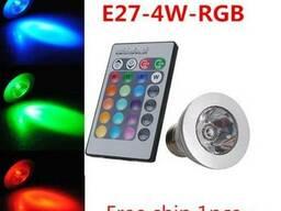 Светодиодная Led RGB мультицветная лампа 5 Вт с пультом ДУ