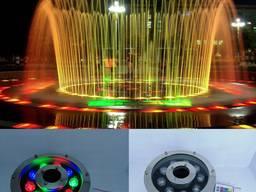 Светодиодный подводный прожектор RGB 9 Вт IP68 с пультом д/у