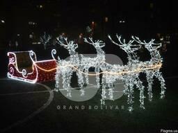 Светодиодные сани оленями для уличного использования