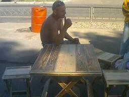 Табуреты и столы раскладные из натурального дерева