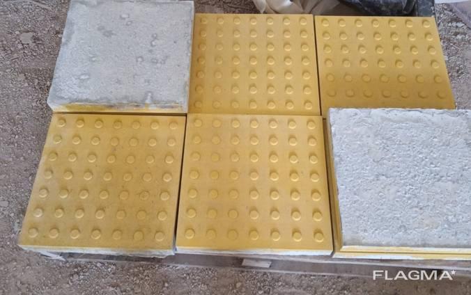 Тактильная плитка бетонная 400х400х50 мм желтая Конус