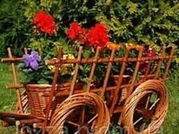Телега декор для сада . Декоративная телега плетеная из лозы