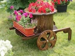 Телега садовая декоративная