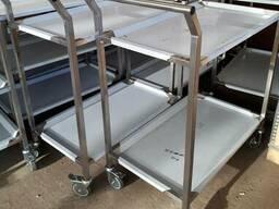 Тележка сервировочная на 2 уровня сварная с колесами