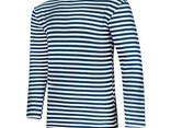 Тельняшка летняя 100% хлопок вязаная (темно-синяя, ВМФ, морская, флотская) - фото 2