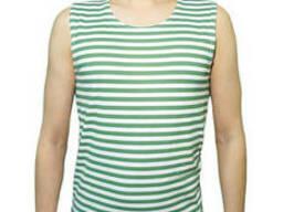 Тельняшка-майка 100% хлопок вязаная (зеленая) 64