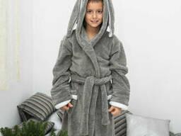 Теплый детский махровый халат зайка с носочками в подарок 9-12 лет