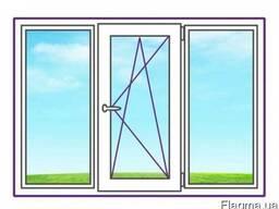 Трехстворчатое окно с одной поворотно-откидной створкой