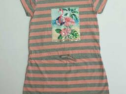 Трикотажное летнее платье-туника для девочки с пайетками в морском стиле 12