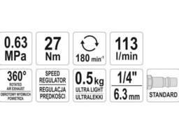 """Тріщатка пневматична YATO 1/4"""" 27 Нм 113 л/хв 6.3 бар"""