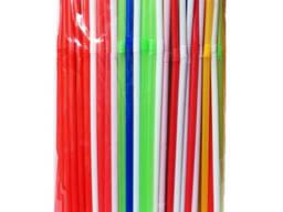Трубочки стандартные цветные и черные с изгибом - 200шт
