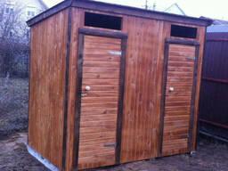 Туалет деревянный с душевой кабинкой 2, 6х1. 1 м