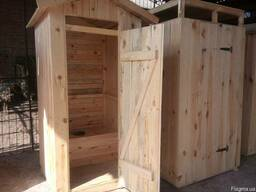 Туалет для дачи, душевая кабина деревянная - фото 5