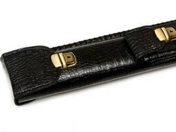 Тубус для кия с карманом черный крокодил